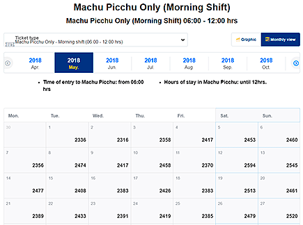 Наличие онлайн билет Мачу-Пикчу